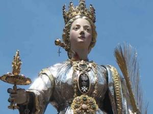 Santa Lucia trafitta dalla spada