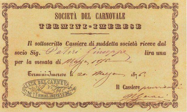 ricevuta di pagamento carnevale termitano